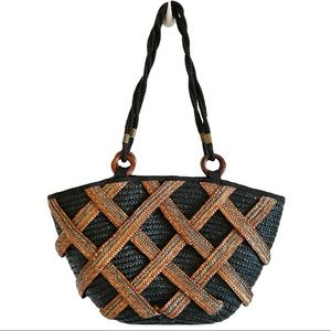 Large woven straw shoulder tote bag with zipper